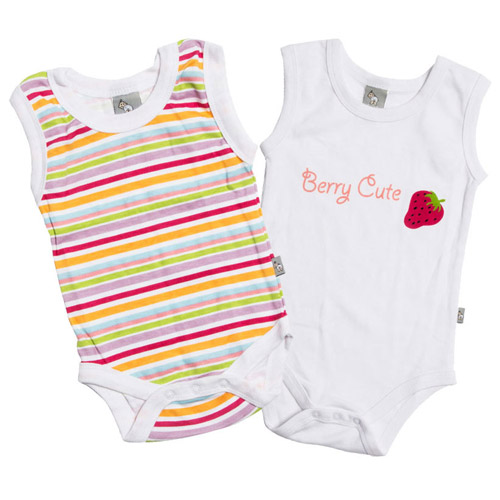 Newborn Baby Onesie Stripes Berry
